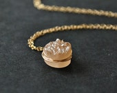 Peach Druzy 14k Gold Necklace Champagne Drusy Quartz Necklace