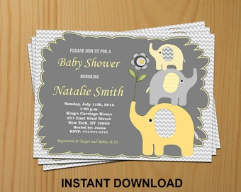 Elephant Baby Shower Invitation Yellow Boy Baby Shower invitations Printable / FREE Thank You Card / Editable pdf Download (03)