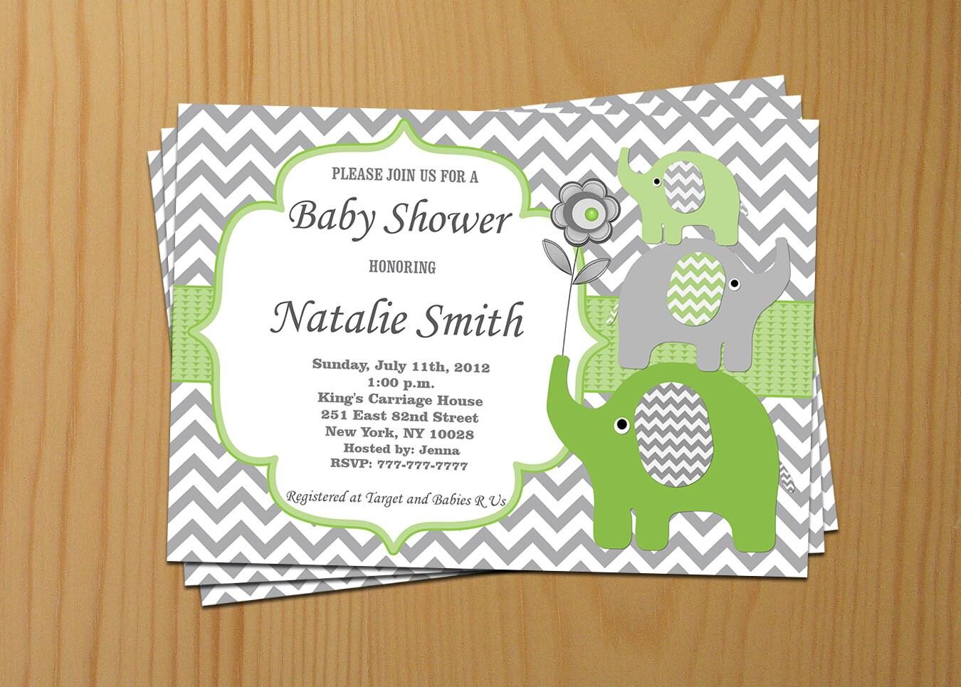 elephant baby shower invitation green chevron baby shower
