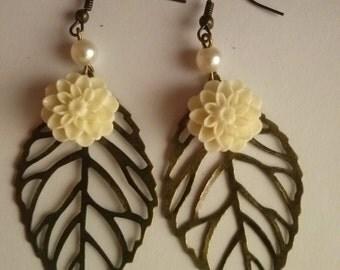 leave earrings leaves earrings flower resin flower