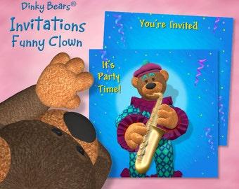 Dinky Bears Clown Playing Saxophone Invitation - Digital Download