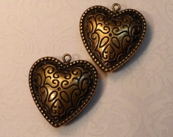 "Large metalized vintage gold plate acrylic 2-sided puff hearts 1&1/8"" , 2pcs-CHM62"