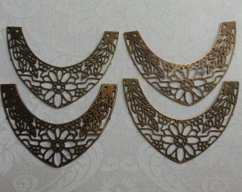 "Thin lacelike vintage gold plate brass filigrees,1&1/2""x1/2"",4pcs-FLG11"