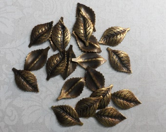 """These are vintage gold or silver plate brass etched & dapped leaves,3/4""""x3/8th"""",20pcs-KC161"""