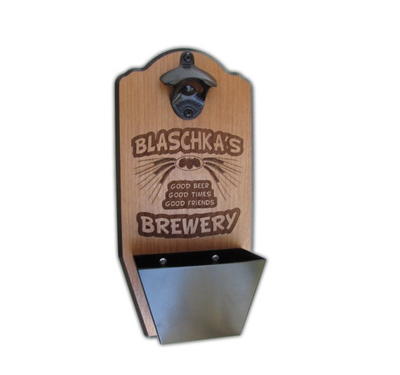 Items similar to personalized wall mount bottle opener brewery edition custom laser engraved - Personalized wall mount bottle opener ...