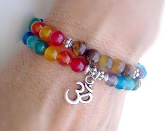 Wrap Om bracelet, Yoga bracelet, 7 Chakra bracelet, Om Chakra bracelet, Meditation bracelet, Aum Yoga bracelet, Yoga Jewelry, Om bracelet
