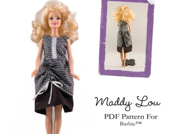 Pixie Faire Aha Customs Maddy Lou Dress Doll Clothes Pattern for Barbie Dolls - PDF