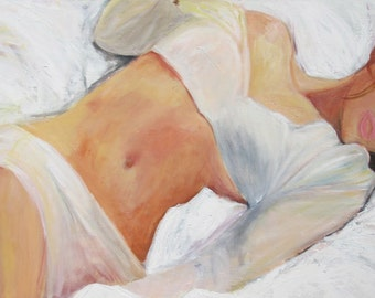Woman painting, Painting of a woman in white , Limited edition giclee print on canvas 24x36x1.5 Wall art, Bedroom art