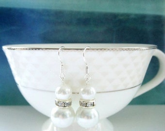 Pearl and Rhinestone Earrings, Dangel Pearl Earrings, Bridal Pearl Earrings