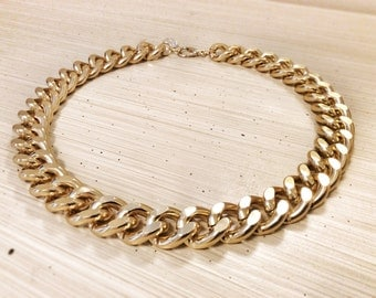 Chunky Chain Necklace 18K Gold Plated Thick Statement Designer Inspired