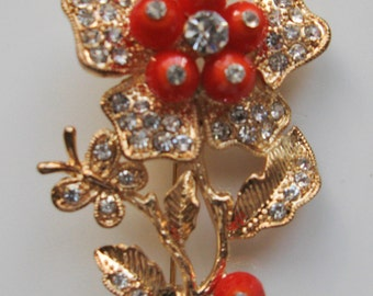 Orange Bead and Crystal Floral Brooch