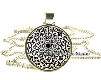 Black & White Geometric Pendant, Black and White Geometric necklace, Geometric Jewelry