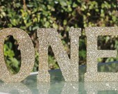Sparkly Gold Glitter ONE letters!  Photo Prop / Cake/ Candy Table Accessory