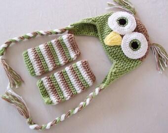 Baby Owl Laplander Hat & Leg Warmers Set - 0 to 3 Months, 3 to 6 Months, 6 to 12 Months - Fern (B), Soft Taupe - Woodland, Animal