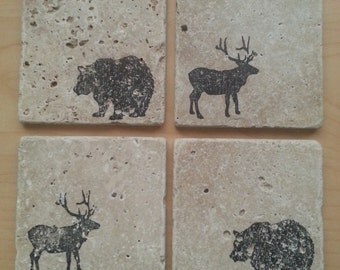 Natural Stone Rustic Hunter Bear Elk Coasters