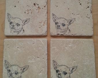 Natural Tumbled Marble Stone Chihuahua Coasters