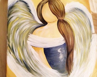 Hand Painted Gorgeous Acrylic Angel Painting by Sheila A. Smith