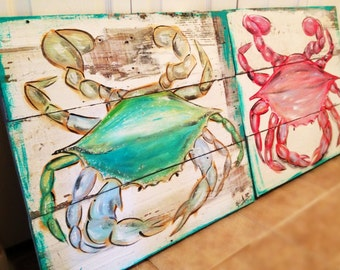 """The """"Crabby Couple"""" ~ my beautiful Crabs hand painted on distressed and weathered wooden boards"""
