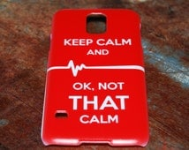Keep Calm OK Not That Calm Nurse Case for Samsung Galaxy Case S5 Bright Red RN CNA Doctor Medical Humor Funny Nursing Back Cover New c76