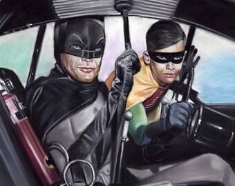 "Batman 66 TV series painting, drawing, poster, print, reproduction, 16""x20"",22.4""x28"""