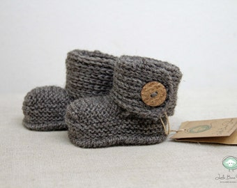 Hand Knit Handmade Baby Booties Boots Ugg inspired Infant Booties with Button Sizes 0-3m  3-6m 6-12m