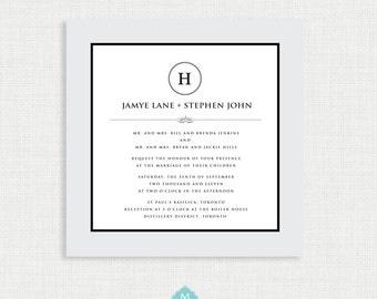 Printable Mongram wedding invitation with RSVP Card- Simple Wedding Invitation- Invitation Template- Customizable Invitation