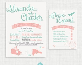 Printable wedding invitation with RSVP Card- Destination Wedding Invitation- Invitation Template- Customizable Invitation