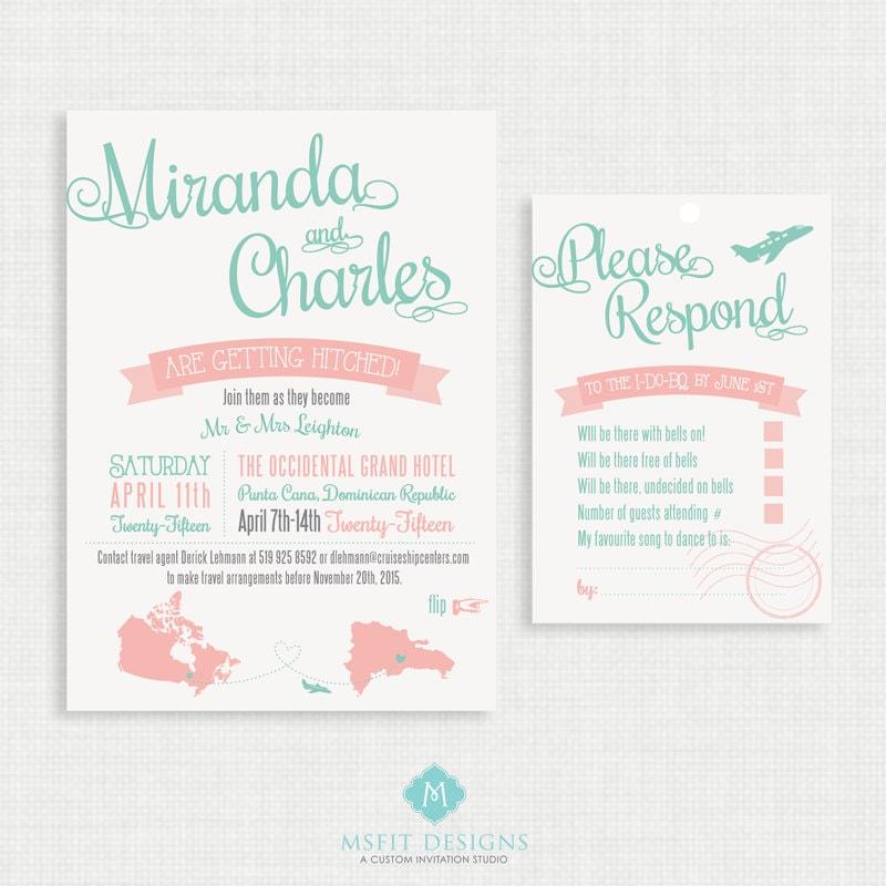 Printable Wedding Invitation With RSVP Card Destination Wedding - Travel wedding invitations template