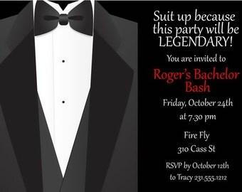 Tuxedo Bachelor Invitation • Printable Bachelor Party Invite • Guys Stag Weekend Digital Invitations