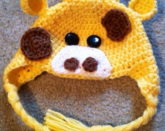 Ready to go NOW!! Baby Giraffe ear flap hat: 0-3 months only