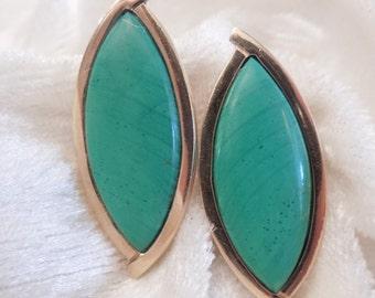 Marquise Shaped Jade Earrings in 14K Gold Bezel