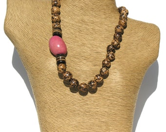 Classic  Natural Pambil-Pink Tagua Seeds Necklace.