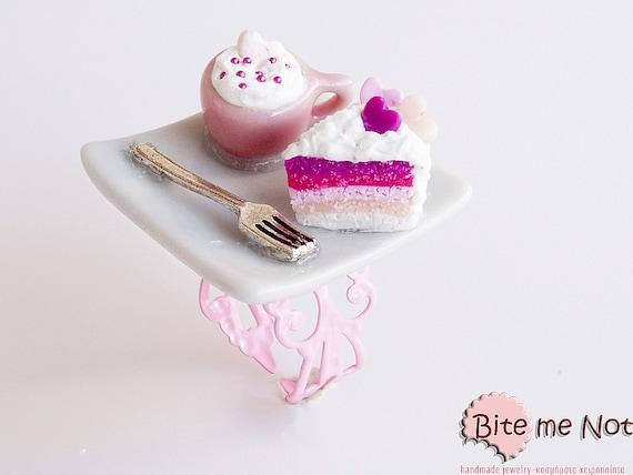 Polymer clay Sweets Rainbow Cake and Creamy Coffee Ring, Mini Food Jewelry, Kawaii Jewelry, Miniature Sweets, Food Jewelry, Cute Jewelry