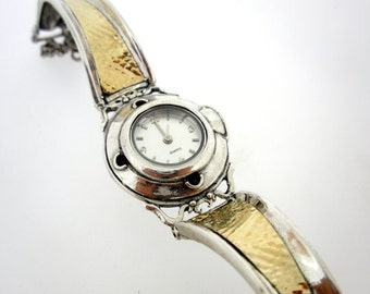 Handcrafted 925 Sterling Silver and Gold Watch Bracelet