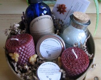 Gift Basket Organic Bath and Body ('planted' in a natural colored eco-planter).