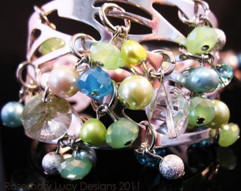 Cuff Candy Bracelet bangle with Swarovski Crystals mixed stones beads jewelry women