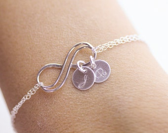 Personalized Infinity Bracelet . Initials Double Infinity Bracelet. love,Mom,Sister,Wife,Bridesmaid Gift