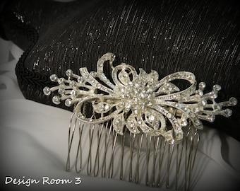 Rhinestone Bridal Comb / Hairpiece / Wedding / Crystal