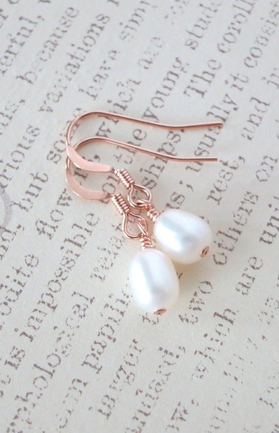 Rose Gold Filled Freshwater Pearl Earrings - White Freshwater Pearl, rose gold pink weddings, bridesmaid pearl earrings, simple jewelry