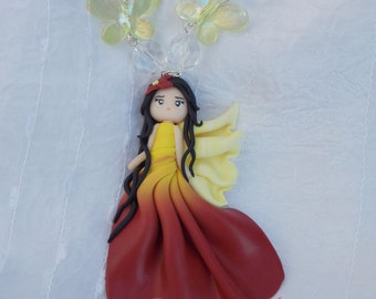 Necklace Romantic Fairy in polymer clay