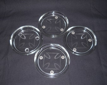 Glass Etched Coasters with iron crosses - set of 4