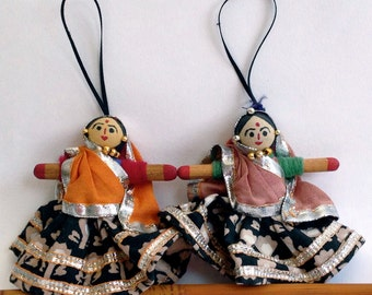 Vintage Pair of Handmade Indian Dancers Hanging Ornaments