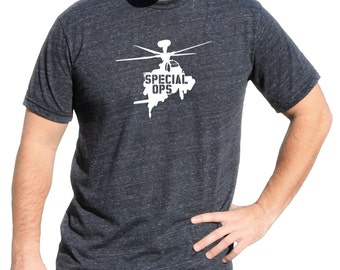 Air Force Military   Shirt With Helo   Special Ops Triblend Soft Vinyl Tshirt   Helicopter Military Shirt   MILITARY HELICOPTER TSHIRT m08