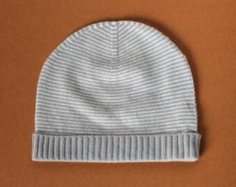Grey/White Cashmere Stripa Hat