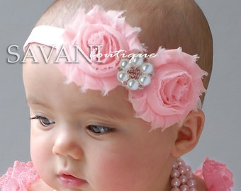Baby headbands, pink headbands, vintage headbands, shabby chic  headbands, headbands,baby hairbows