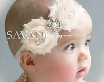 Baby headbands,ivory newborn headband, shabby chic roses headband, headband, flower girl headband