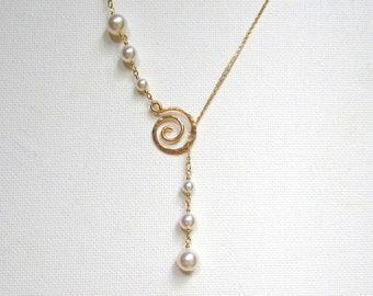 Gold Filled Necklace  Lariat Necklace Pearl Necklace Pearl Drop Necklace Hammered Swirl Necklace Bridal Necklace Rose Gold Filled Necklace