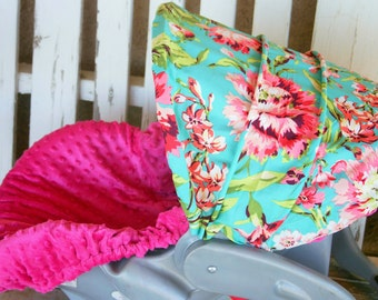 teal and bright beautiful pink flowers infant hood cover and pink minky infant car seat cover