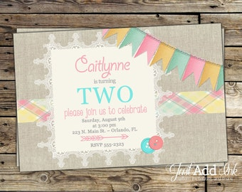 Shabby Chic Birthday Invitation - Pretty Plaid, Bunting - Pink - Burlap & Lace - PRINTABLE Invitation