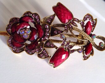 Large rhinestone hair clip Perfect gift idea metal claw clip CRIMSON ONE DOLLAR shipping